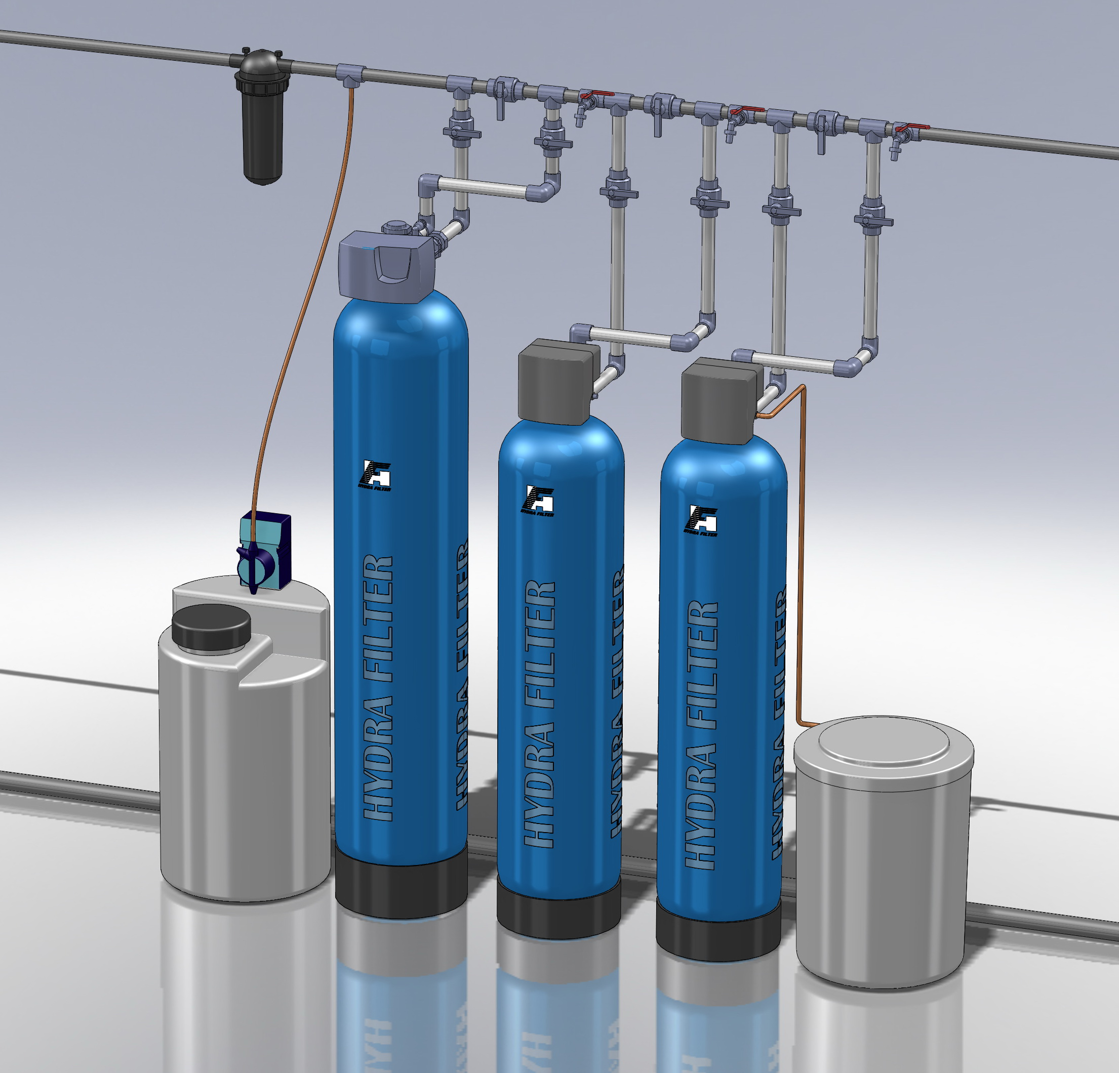 Водоподготовка для коттеджа #4. 2000 л/час (4-5 одновременно открытых крана) Растворенное железо до 5-6 мг/л, жесткость до 10