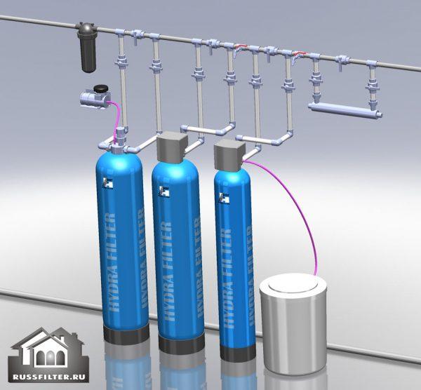 Водоподготовка для коттеджа #14. 1100 л/час (2-3 одновременно открытых крана) Растворенное железо до 3 мг/л
